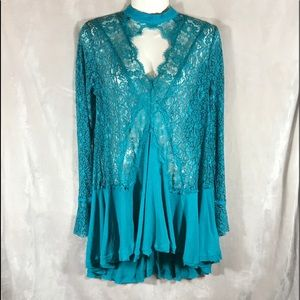FP NWT Cyan Blue Tell Tale Lace Tunic, Size Small